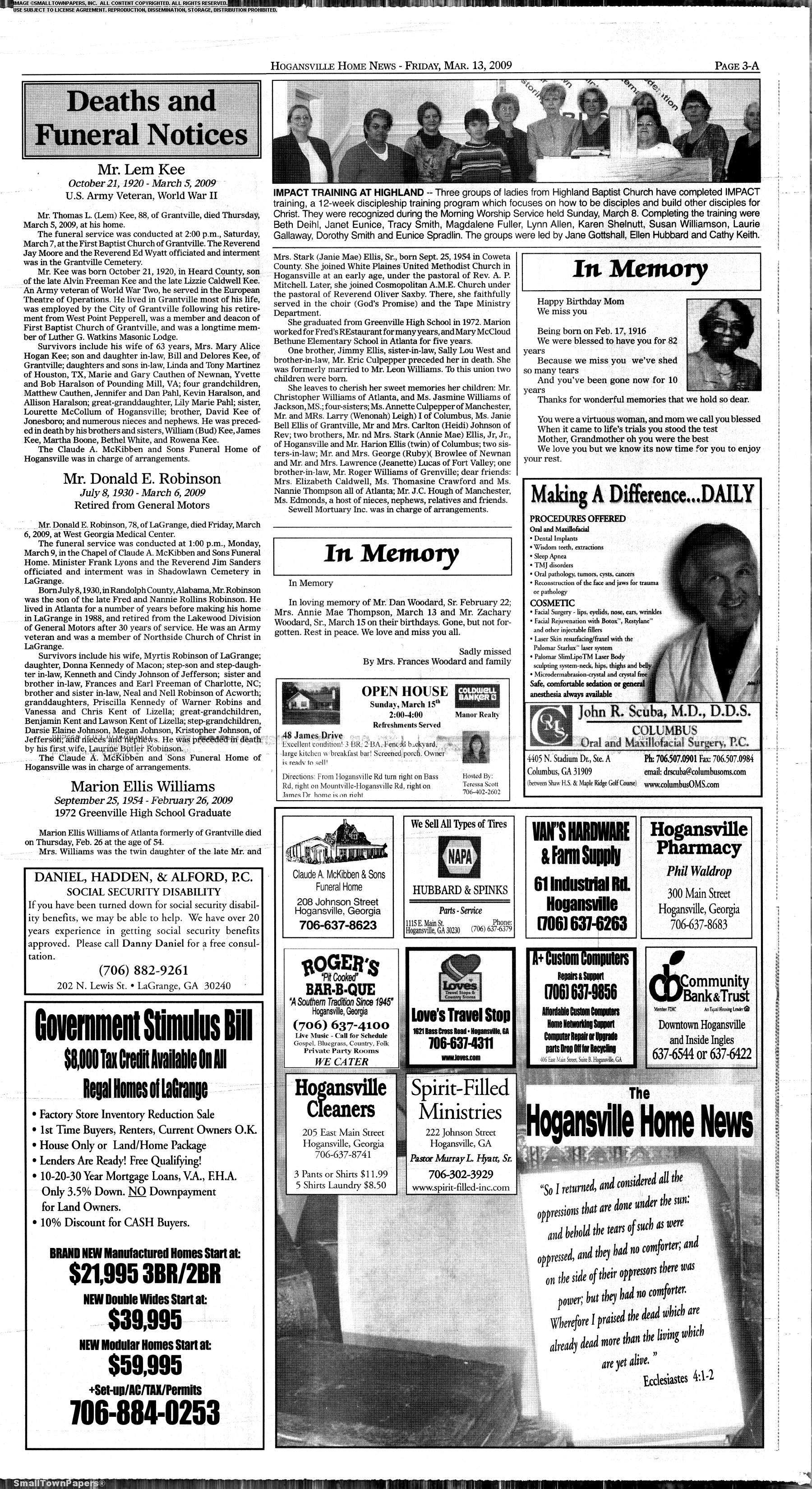 The Hogansville Herald March 13, 2009: Page 3