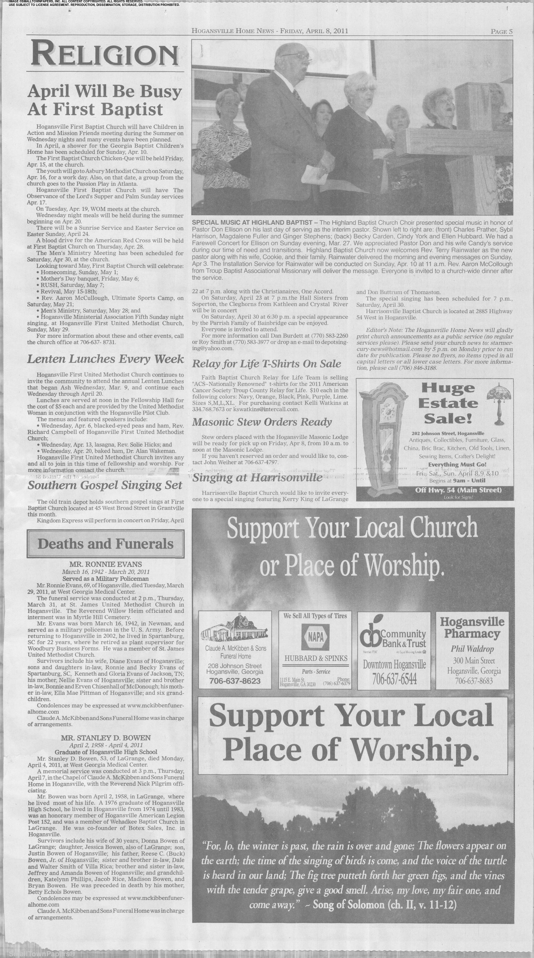 The Hogansville Herald April 8, 2011: Page 5